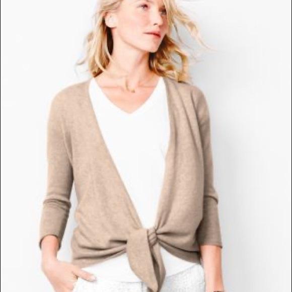 Garnet Hill Tie Front Cashmere Sweater in Cream